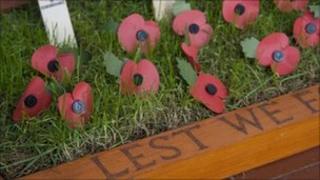 A poppy memorial