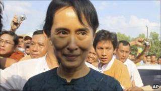 Newly-freed Aung San Suu Kyi, on 14 November 2010