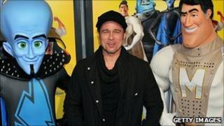 Brad Pitt with Megamind and Metro Man