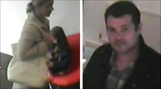 Police CCTV images of two people in the art gallery