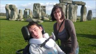 Greg Love with his mother Jill at Stonehenge