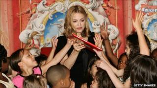 Singer Madonna at a public event in June 2005 for her book Lotsa de Casha