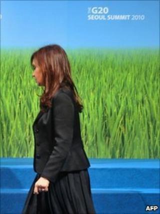 Argentine President Cristina Fernandez at the G20 summit in Seoul