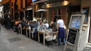 A row of restaurants in Lyon, France (file picture)