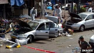Forensic teams examine the scene of a suicide bomb attack in Tel Aviv