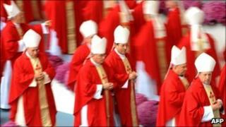 Cardinals during Mass in Santiago de Compostela, Spain, 6 November 2010