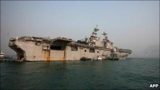 The USS Essex sits berthed in Hong Kong