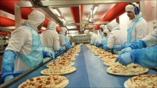 Northern Foods pizza production line
