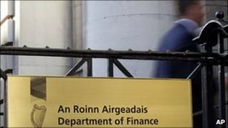 A worker enters the Department of Finance in Dublin