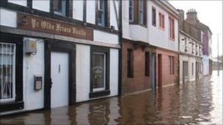 Shops flooded