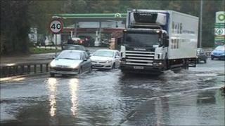 Part of the Knock Road in east Belfast was flooded