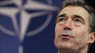 Nato Secretary General Anders Fogh Rasmussen at Nato headquarters in Brussels - 15 November 2010