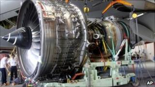 The engine that failed on an Qantas A380 being removed from the plane