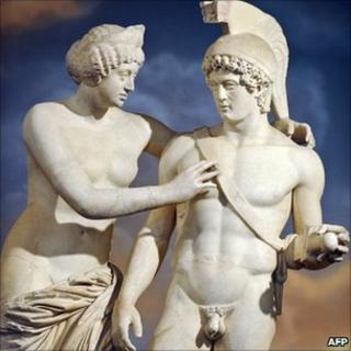 A Roman statue of Venus and Mars is displayed at Prime Minister Silvio Berlusconi's office
