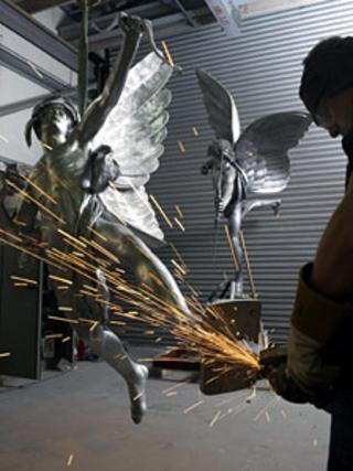 Final touches are made to the cast of Eros at Black Isle Bronze. Pic: Black Isle Bronze