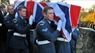 The funeral of Senior Aircraftman Scott Hughes was held in his home village of Y Felinheli