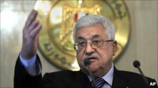 Palestinian President Mahmoud Abbas at a presser in Cairo