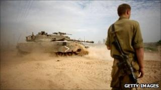 Israeli soldier on Israel-Gaza border (file photo)