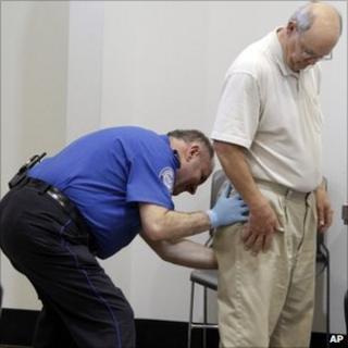Man undergoes security pat down