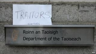 Protest sign in Dublin