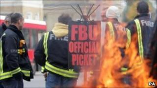 London firefighters on strike