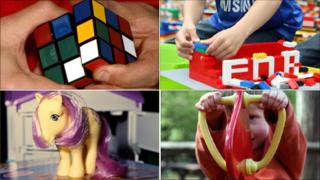 Composite featuring rubik's cube, child playing with Lego, My Little Pony, child playing
