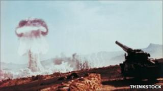 A nuclear weapons test in Nevada, 1955.