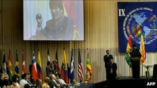 President Evo Morales addressing the conference of defence ministers of the Americas in Santa Cruz, Bolivia.
