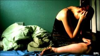 Depressed woman (posed by model)