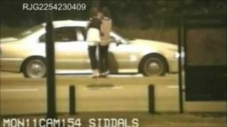 CCTV of teenagers being approached by men in a car in Derby