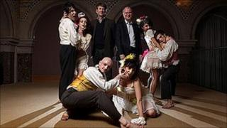 Phoenix Dance Theatre with BBC North director Peter Salmon and Tom Riordan, chief executive of Leeds City Council