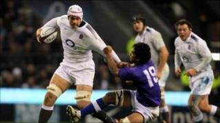 "England""s Dave Attwood is tackled by Afa Aiono of Samoa during last weekend's match at Twickenham"