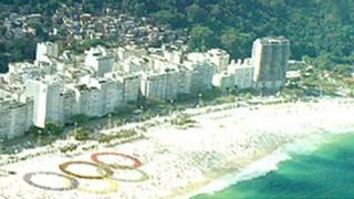 Olympic symbol on a beach in Rio