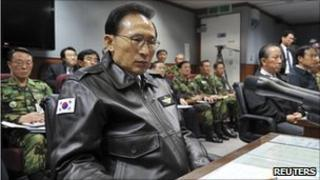 South Korean President Lee Myung-bak at Defence Ministry briefing