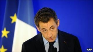 French President Nicolas Sarkozy delivers a speech in Lisbon, 20 November