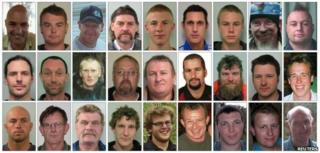 "The miners are (top row L to R) Conrad John Adams, 43, Malcolm Campbell, 25, Glen Peter Cruse, 35, Allan John Dixon, 59, Zen Wodin Drew, 21, Christopher Peter Duggan, 31, Joseph Ray Dunbar, 17, John Leonard Hale, 45, Daniel Thomas Herk, 36, (second row L to R) David Mark Hoggart, 33, Richard Bennett Holling, 41, Andrew David Hurren, 32, Jacobus (Koos) Albertus Jonker, 47, William John Joynson, 49, Riki Steve Keane, 28, Terry David Kitchin, 41, Samuel Peter McKie, 26, Michael Nolan Hanmer Monk, 23, (bottom row L to R) Kane Barry Nieper, 33, Peter O""Neill, 55, Milton John Osborne, 54, Brendan John Palmer, 27, Benjamin David Rockhouse, 21, Peter James Rodger, 40, Blair David Sims, 28, Joshua Adam Ufer, 25 and Keith Thomas Valli, 62"