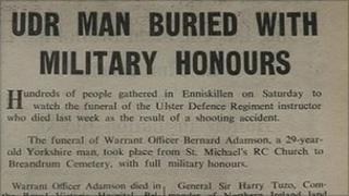 Paper clipping from time of shooting