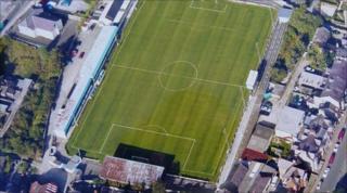 Farrar Road aerial pictures taken in 2004 (copyright: Bangor City Football Club)