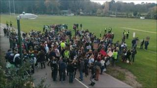 Students protesting at Bournemouth's Merrick Park