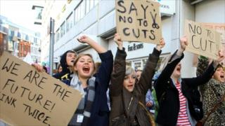 A student protest against education cuts in Hastings, East Sussex