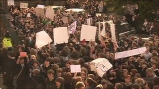 Student protest in Matlock