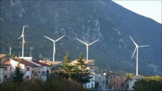 The wind turbines at Tocco Da Casauria