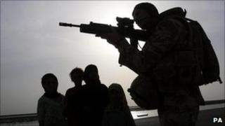 A British soldier in Basra, Iraq