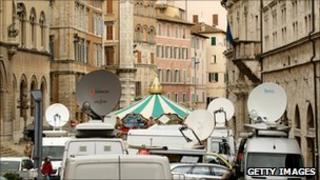 Satellite trucks outside the Perugia courtroom