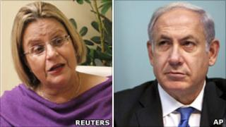 US Representative Ileana Ros-Lehtinen (left) and Israeli Prime Minister Benjamin Netanyahu (right)