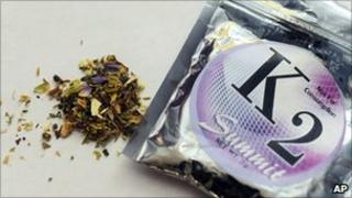 A package of a herbal blend called K2