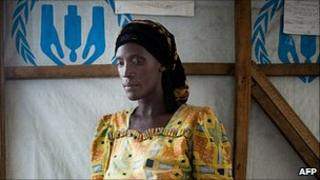A rape victim sits in a tent in a camp for internally displaced people in the Democratic Republic of Congo