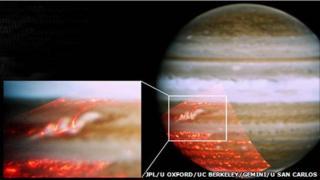 Jupiter's returning stripe highlighted (JPL, University of Oxford, UC Berkeley, Gemini Observatory, University of San Carlos)