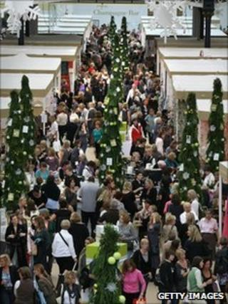 Shoppers at the Spirit of Christmas Fair, Olympia, London