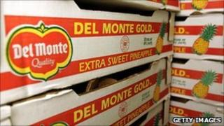 Crates of Del Monte pineapples